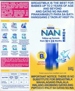 Nestle Nan label Philippines 2012