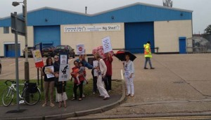 Protest at NestlŽe SMA study day, Leicester 24 June 2014