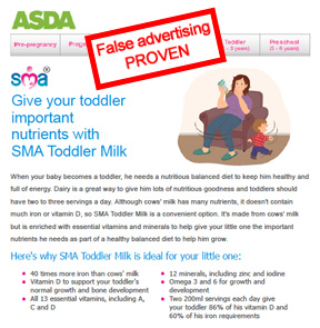Misleading advertisement from ASDA and Nestle for SMA toddler mi