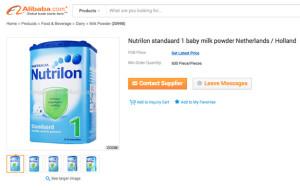 Danone Nutrilon on Alibaba website February 2015
