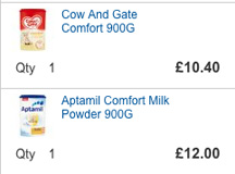 Tesco prices for identical formula