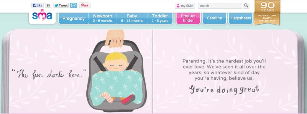NestlŽ SMA website targeting pregnant women and new mothers Nove