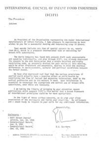 Letter from Nestle Vice-President Ernest Saunders 1981